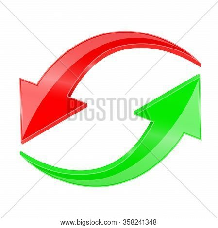 Red And Green Arrows In Circular Motion. Vector 3d Illustration Isolated On White Background