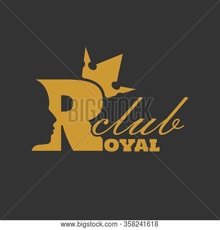 Royal Club Luxury Emblem. Royal Word. Prince Head Silhouette With Crown. Medieval King Profile. Busi