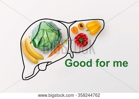 Smart Eating Concept. Creative Collage Made Of Organic Vegetables And Fruits With Drawing Of Liver O