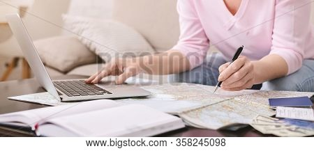 Coronavirus Outbreak Research. Senior Woman Marking Infected Countries On Map At Home, Panorama, Fre