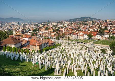 Sarajevo, BiH - August 28, 2019: Sarajevo skyline day view at summer in Bosnia and Herzegovina. Panorama of Sarajevo.