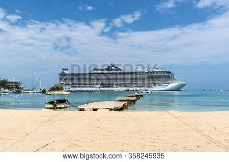 Ocho Rios, Jamaica - April 22, 2019: Cruise Ship Msc Seaside Docked In The Tropical Caribbean Island
