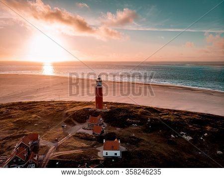 Texel Lighthouse During Sunset Netherlands Dutch Island Texel