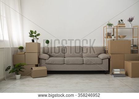 Interior Of Apartment During The Renovation And Construction, Living Room Interior With Cardboard Bo