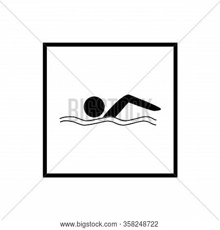 Sports. Sign Place For Swiming In Water. Safety Swim. Sign Safeness On Pool, Beach, In River, Sea. P
