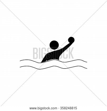 Water Sports. Water Polo Set Icon. Silhouette Emblem Of Water Polo. Logo Professional Sports In Wate