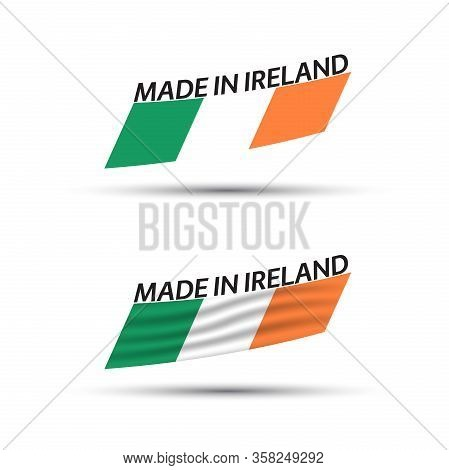 Two Modern Colored Vector Flags With Irish Tricolor Isolated On White Background, Flags Of Ireland,
