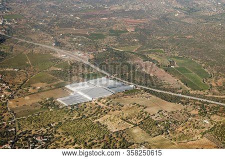 Aerial View Of Greenhouses Operated By The Hubel Company In Fazenda Nova In The Faro Region Of Portu