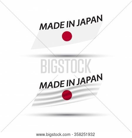 Two Modern Colored Vector Japanese Flags Isolated On White Background, Japanese Flag, Japanese Ribbo