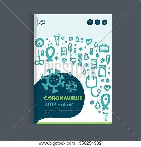 Medical Coronavirus Brochure, Health Report, Medicine Template, Hospital Cover Design