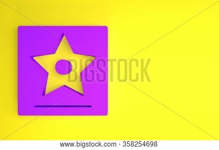 Purple Hollywood Walk Of Fame Star On Celebrity Boulevard Icon Isolated On Yellow Background. Famous