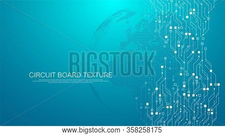 Technology Abstract Circuit Board Texture Background. High-tech Futuristic Circuit Board Banner Wall