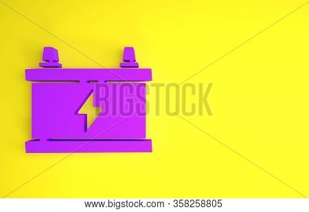 Purple Car Battery Icon Isolated On Yellow Background. Accumulator Battery Energy Power And Electric