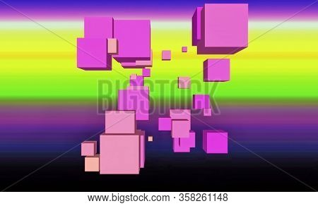 Color Spectacular  Background With Squares And Horizontal Stripes For Projects And Video Screensaver