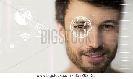 Data Protection Concept. Retina Scan Of Young Male, Collage With Information On Digital Screen. Empt