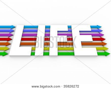 Diversity and peace in society and global harmony are represented by colorful arrows and the word Life showing progress toward co-existence