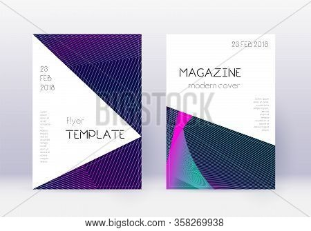 Triangle Cover Design Template Set. Neon Abstract Lines On Dark Blue Background. Incredible Cover De