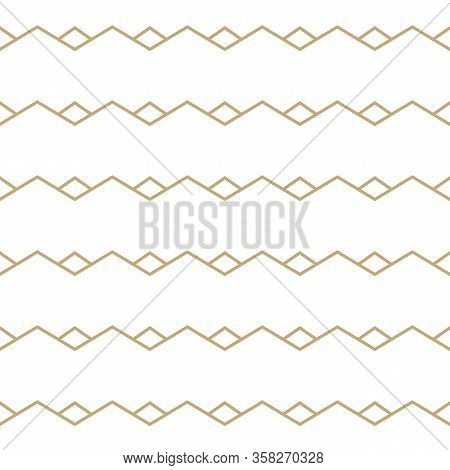 Simple Geometric Pattern With Golden Zigzag Lines. White And Gold Ornamental Background. Abstract Se