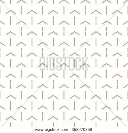 Abstract Simple Pattern With Golden Arrows. White And Gold Ornamental Background. Seamless Geometric