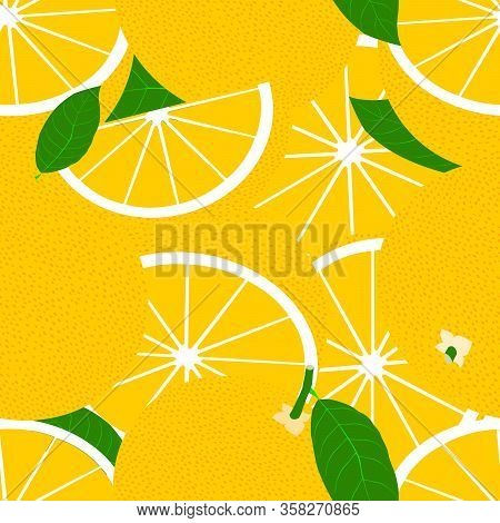 Tropical Seamless Pattern With Yellow Grapefruits. Vector Fruit Background Or Wallpaper.