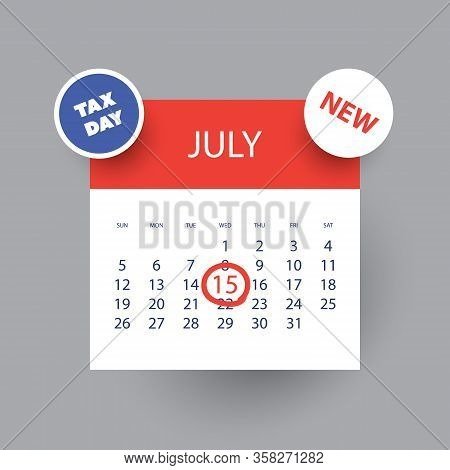 Colorful Tax Day Reminder Concept - Calendar Design Template - Usa Tax Deadline, New Due Date For Ir
