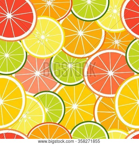 Tropical Seamless Pattern With Slices Fruits. Vector Fruit Background Or Wallpaper.