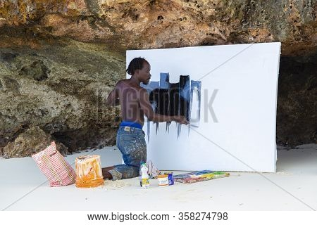 02.15. 2019  Coast Of Ocean Near Kendwa Village, Island Zanzibar, Tanzania. Africa. African Artist P