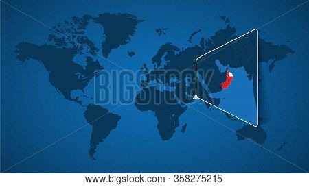 Detailed World Map With Pinned Enlarged Map Of Oman And Neighboring Countries. Oman Flag And Map.