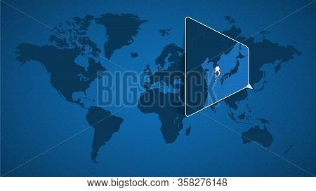 Detailed World Map With Pinned Enlarged Map Of South Korea And Neighboring Countries. South Korea Fl