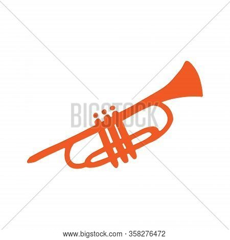 Single Trumpet Icon. A Wind Instrument. Icon For Print And Digital. A Hand-drawn Symbol Of The Trump