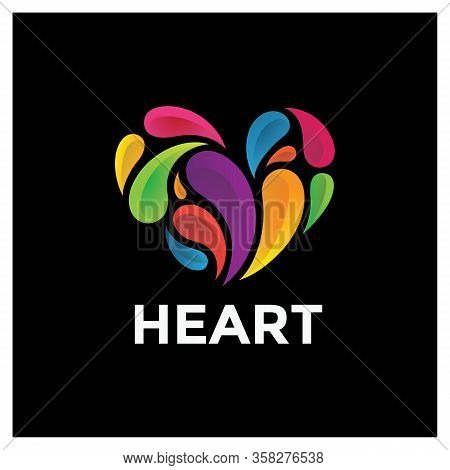 Heart Icon. Heart Icon Colorful Isolated With Black Background. Heart Icon Eps. Heart Icon Image. He