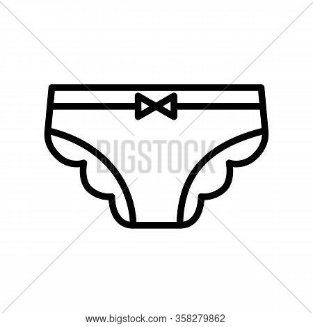 Female Panties Vector Linear Icon Isolated On White Background. Outline Illustration Of Woman Underw