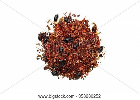 Mixed Spice With Barberry Isolated On White Background. Top View. Spice Mix For Pilaf