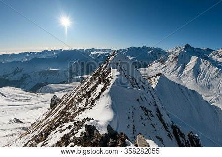 Beautiful View Of Snow-capped Mountains Top. Snow, Mountains