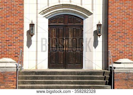 Old Stone Church Wood Doors Brick Steps