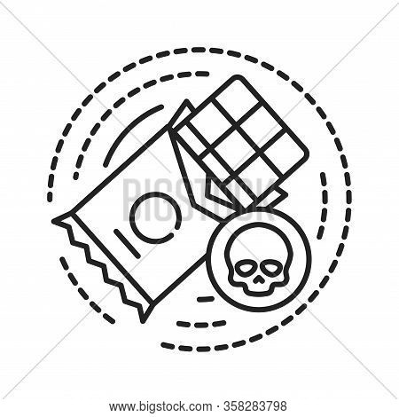 Sweet Addiction Black Line Icon. Physical Or Emotional Dependence On Eating Confection. Pictogram Fo
