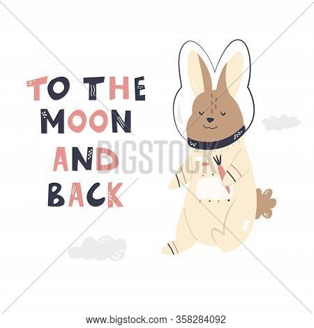 Happy Astronaut Rabbit In A Spacesuit And Helmet