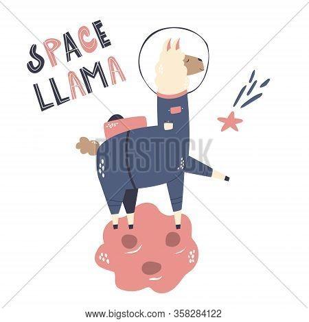 Happy Astronaut Llama In A Spacesuit And Helmet.