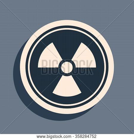 Black Radioactive Icon Isolated On Grey Background. Radioactive Toxic Symbol. Radiation Hazard Sign.