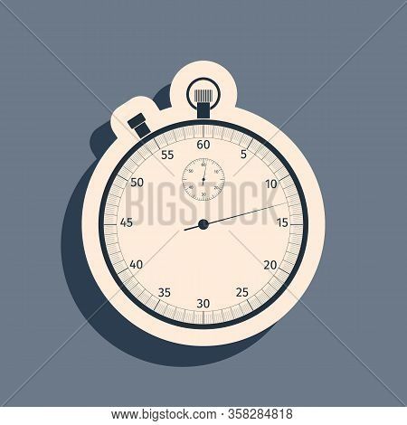 Black Classic Stopwatch Icon Isolated On Grey Background. Timer Icon. Chronometer Sign. Long Shadow