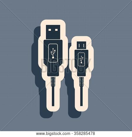 Black Usb Micro Cables Icon On Grey Background. Connectors And Sockets For Pc And Mobile Devices. Co