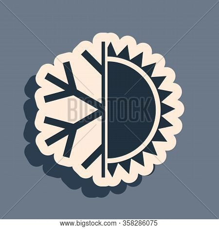 Black Hot And Cold Symbol. Sun And Snowflake Icon Isolated On Grey Background. Winter And Summer Sym