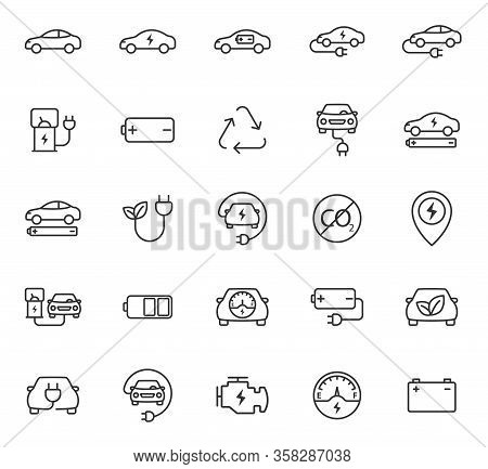 Electric Eco Car Outline Vector Icons Set Isolated On White Background. Electric Ecological Transpor