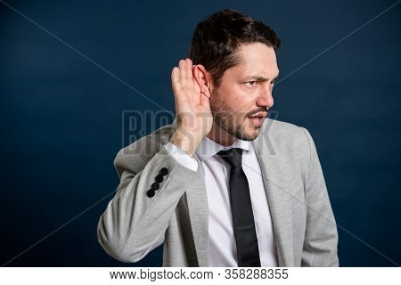 Business Young Handsome Male Making Can't Hear You Gesture