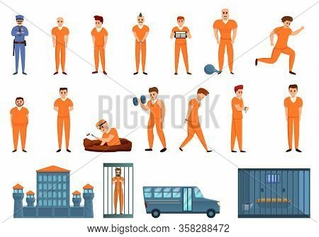 Prison Icons Set. Cartoon Set Of Prison Vector Icons For Web Design