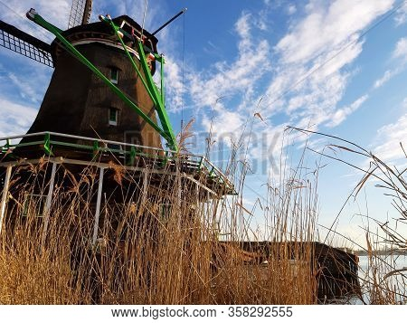 Ancient Mills On The Zaandan River In Zanse Schans In Holland