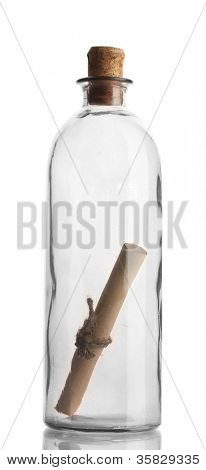 Glass bottle with note inside isolated on white