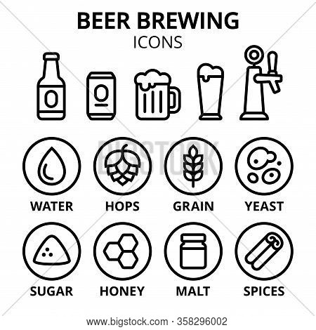 Beer Brewing Icon Set. Beer Making Ingredients, Glasses And Containers. Simple Line Icons, Vector Il