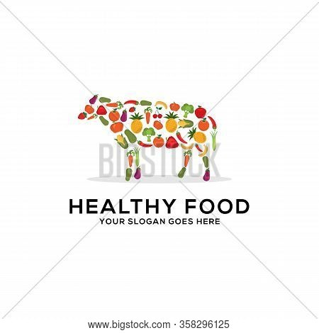 Healthy Food Logo Design Vector, Fresh Fruits And Vegetables Drawing Cow Abstract Illustration