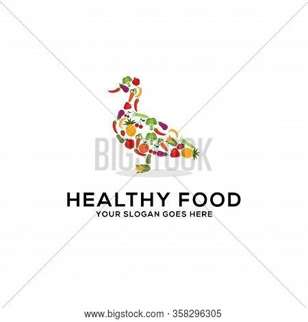 Healthy Food Logo Design Vector, Fresh Fruits And Vegetables Drawing Duck Abstract Illustration